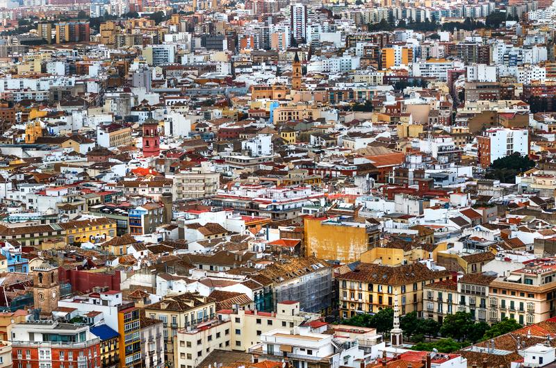 Malaga panoramautsikt - Costa del Sol, Andalusia, Spanien arkivbild
