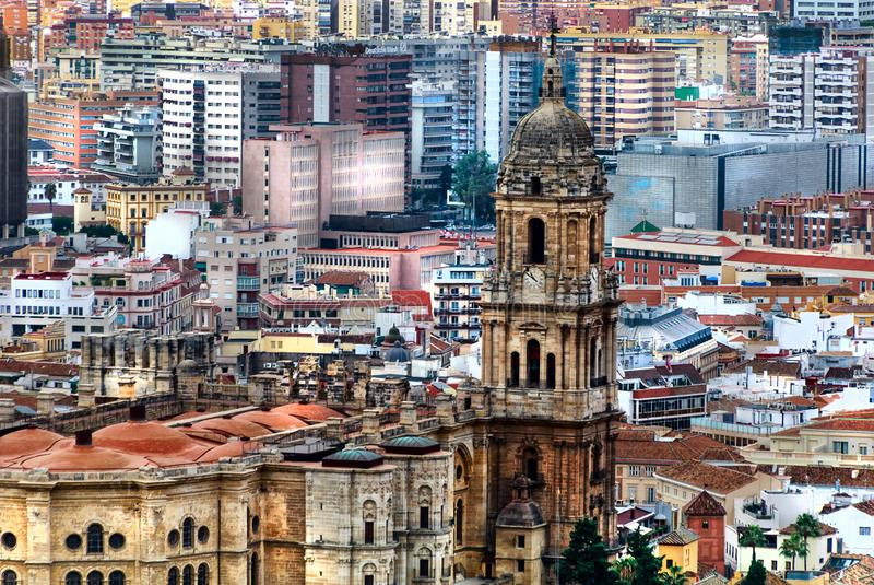 Malaga- panoramic view with the Cathedral - Costa del Sol, Andalusia, Spain. Panoramic view of the city Malaga with the Cathedral. Costa del Sol, Andalusia royalty free stock photography