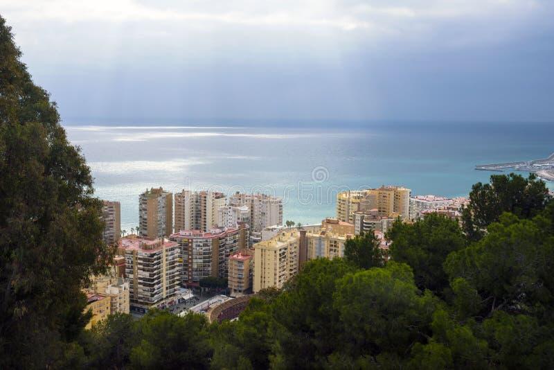 Malaga, Spagna, febbraio 2019 Vista della città spagnola di Malaga fotografia stock libera da diritti