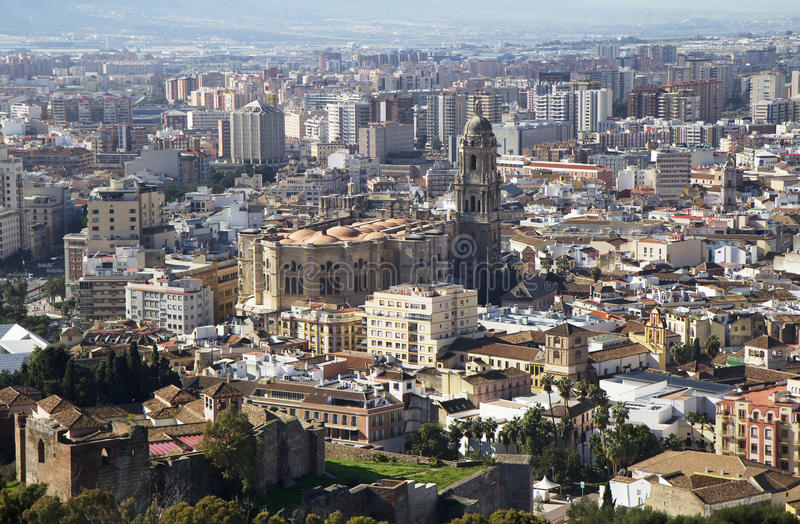 Malaga. Spain. Cathedral. Malaga Cathedral is an impressive building, which dominates the streets of the ancient city. The works were started in 1528. Lasted stock images