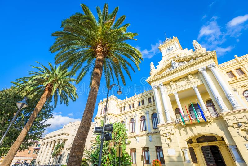 Malaga, Spain City Hall. Facade in the daytime royalty free stock photo