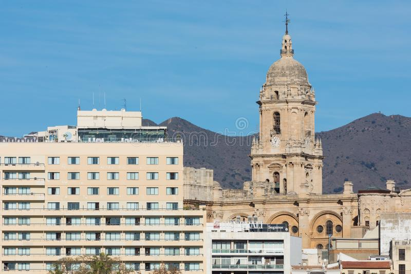 Malaga, Spain cityscape at the Cathedral, City Hall and Alcazaba citadel of Malaga. royalty free stock images