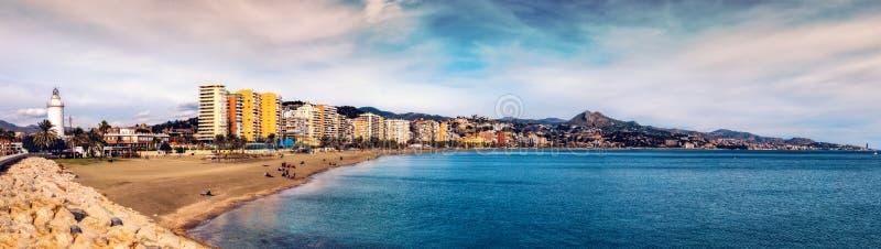 Malagueta beach in Malaga. Andalusia, Spain. Malaga, Spain - December 31, 2017. View of Malagueta beach, Malaga city, Costa del sol, Spain royalty free stock image