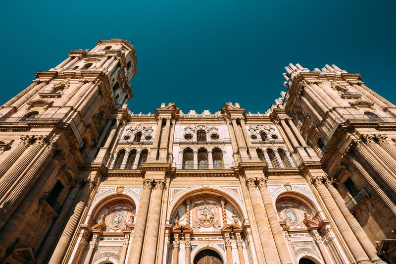 Malaga, Spain. Facade Wall Of Bell Tower Of The Cathedral Of The Incarnation royalty free stock photos