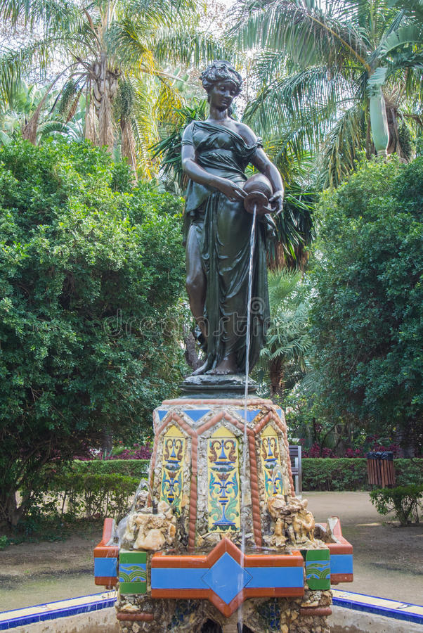 MALAGA, SPAIN - FEBRUARY 07, 2017: A decorated fontain of Nimfa del Cantaro Fountain at the park of Malaga royalty free stock images