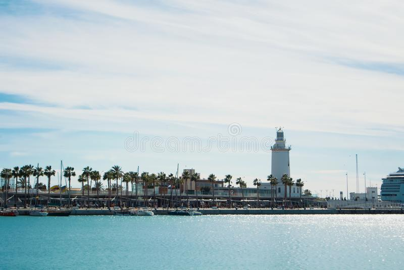 MALAGA, SPAIN - FEBRUARY 7, 2017: A landscape with La Farola lig stock photo