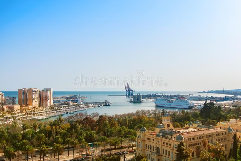 MALAGA, SPAIN - FEBRUARY 16, 2014: Panoramic view to the port of royalty free stock photos