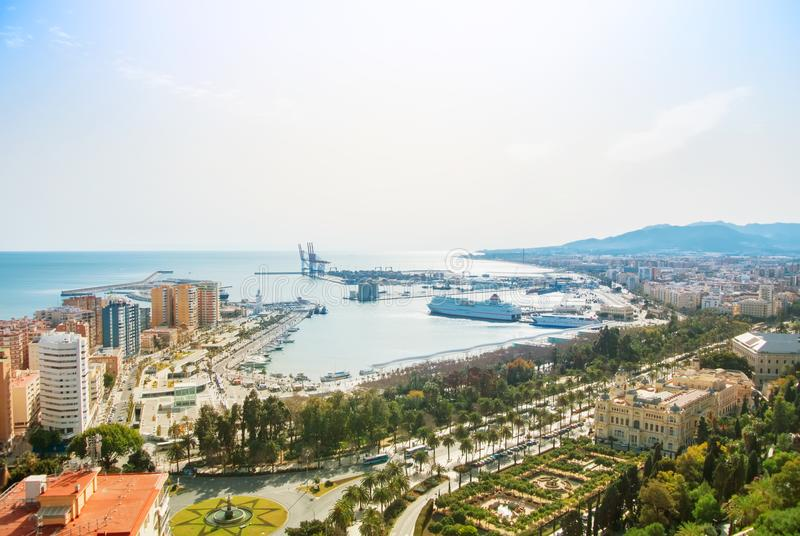 MALAGA, SPAIN - FEBRUARY 16, 2014: Panoramic view to the port of royalty free stock photo