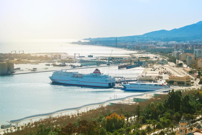 MALAGA, SPAIN - FEBRUARY 16, 2014: Panoramic view to the port of stock photo