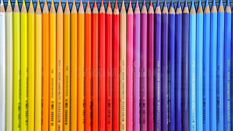 Color drawing pencils, products of Koh-i-noor. Malaga, Spain - March 23, 2018. Color drawing pencils, products of Koh-i-noor stock photos