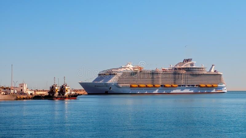 Cruise ship Symphony of the seas. Malaga, Spain - March 27, 2018. Luxury cruise ship Symphony of the seas, Royal Caribbean, anchored in the port of Malaga royalty free stock photos