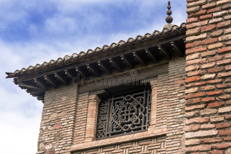 Malaga Spanien, Februari 2019 Fästningen av Alcazaba är en arabisk befästning på monteringen Gibralfaro i den spanska staden av M royaltyfri fotografi