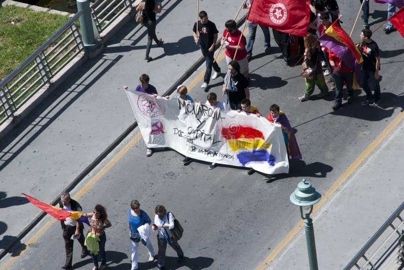 Malaga (Spanje), 14 April 2013: Demonstraties tegen Monarchie in de II Verjaardag van de Republiek stock fotografie
