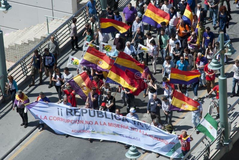 Malaga (Spanje), 14 April 2013: Demonstraties tegen Monarchie in de II Verjaardag van de Republiek stock afbeelding