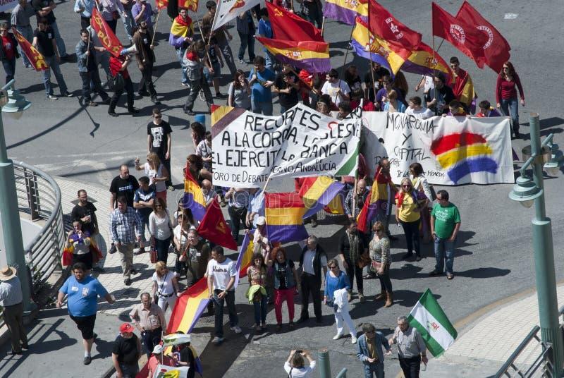 Malaga (Spanje), 14 April 2013: Demonstraties tegen Monarchie in de II Verjaardag van de Republiek royalty-vrije stock afbeelding