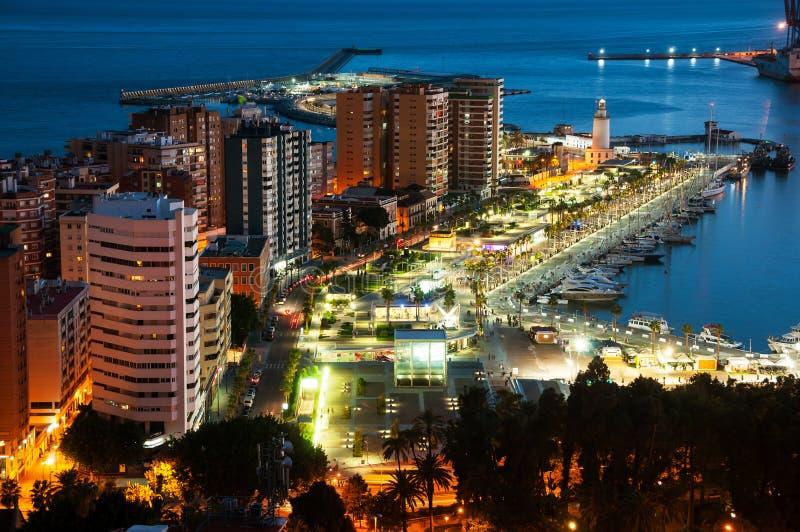 Malaga, Spanje Luchtmening van flatgebouwen en hotels stock foto's