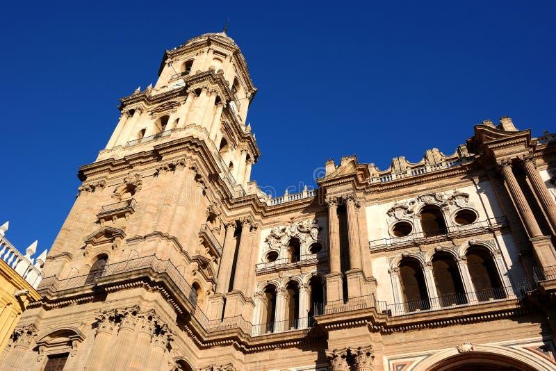 Malaga stad, domkyrkasikt, Spanien royaltyfri bild
