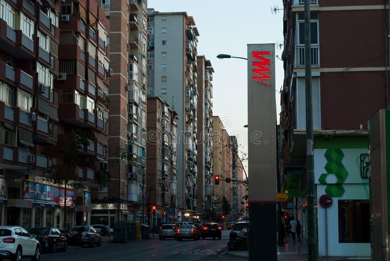 Malaga stad från insidan Stads- stil för spanska gator royaltyfri foto