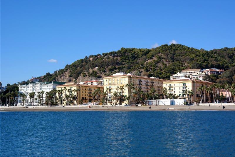 Malaga stad, havssikt, Spanien royaltyfria foton