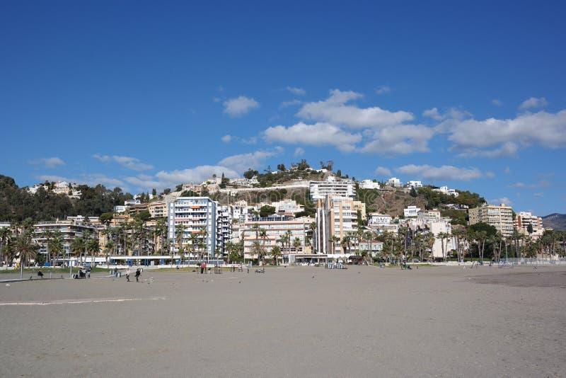 Malaga stad, strandsikt, Spanien arkivbild