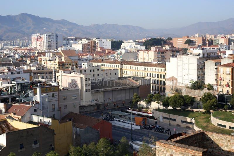 Malaga stadssikt från den Alcazaba befästningen arkivfoto