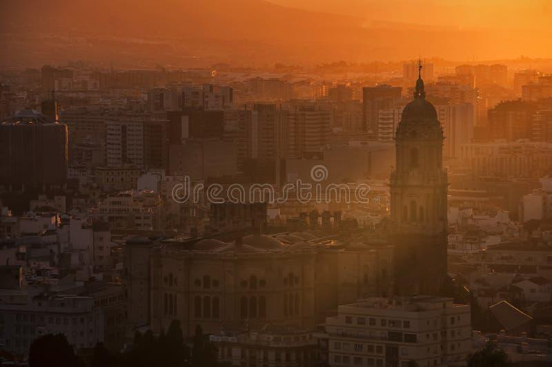 Malaga at sunset stock photos
