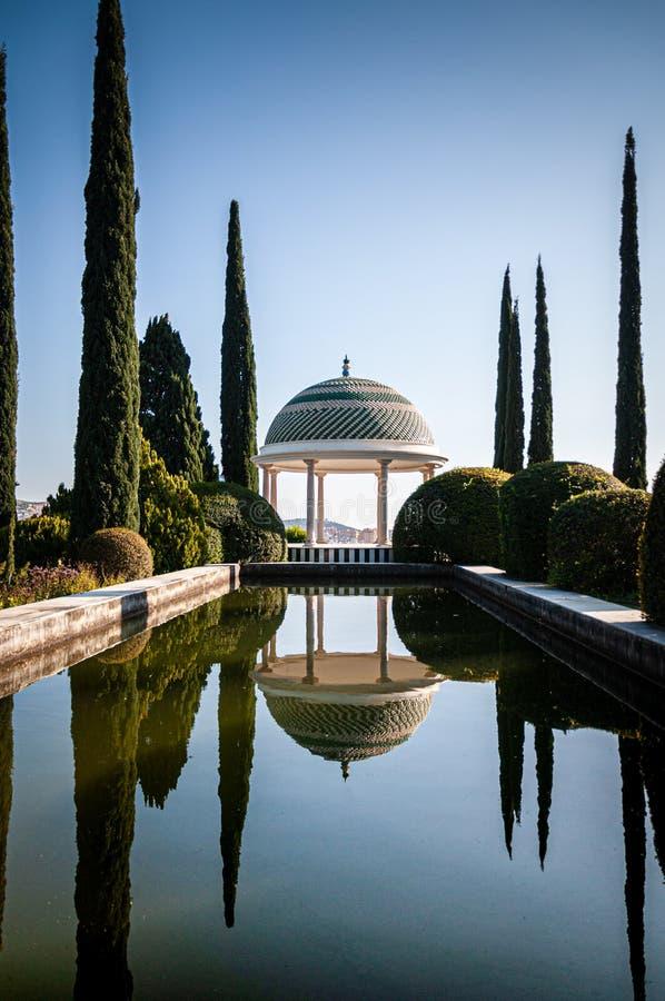 Malagas botanisk trädgårddamm och promenad arkivbilder