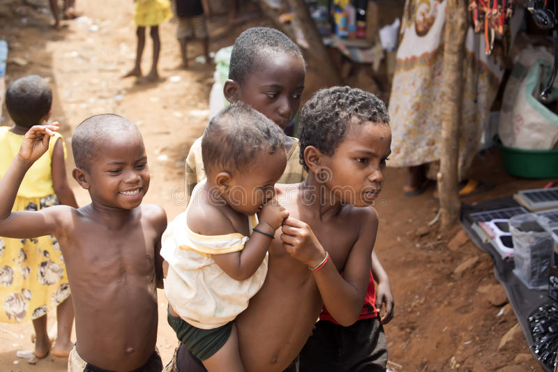 Malagasy children on the market, Antsohihy, Madagascar royalty free stock photography