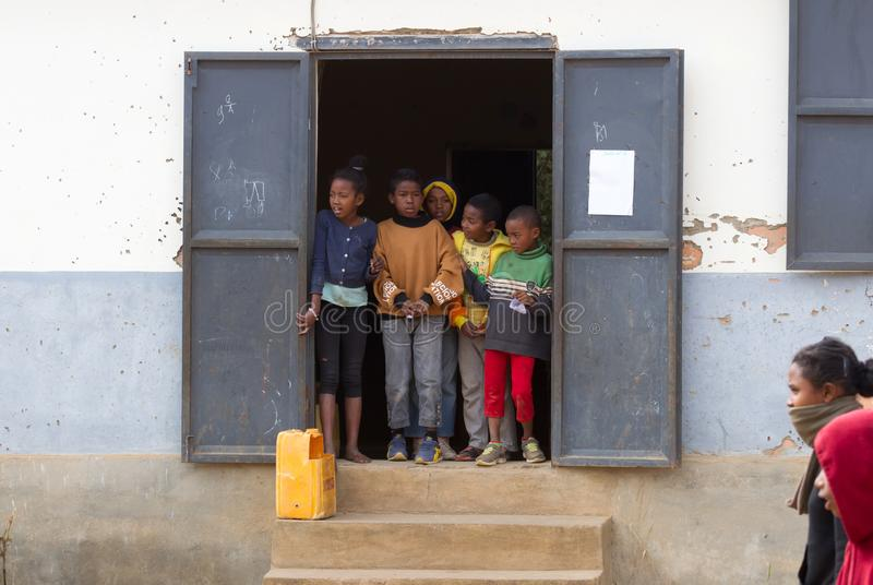 Malagasy primary school. Many children cannot go to school because of poverty royalty free stock photography