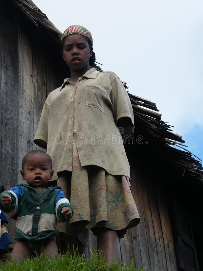 Malagasy woman with her child royalty free stock photos