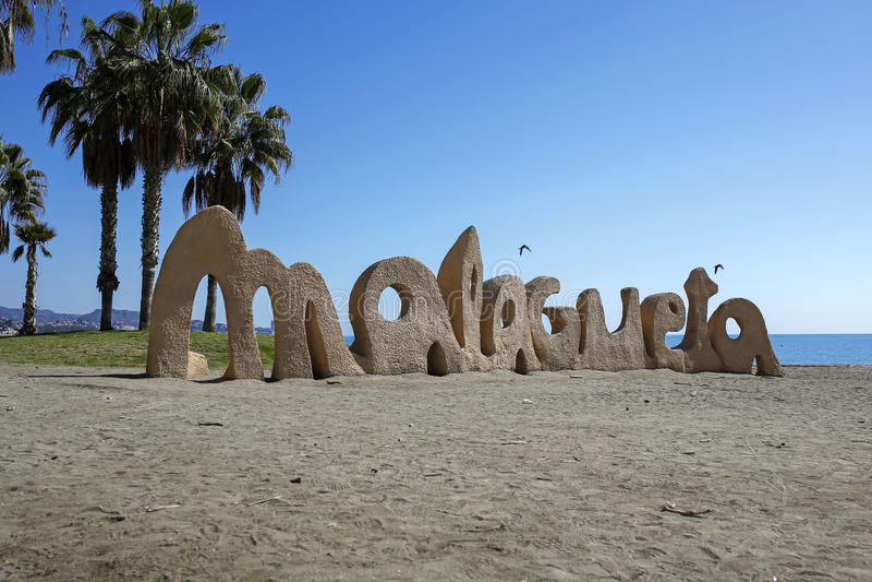 Malagueta- большинств популярный пляж в Малаге, Косте del Sol, Испании стоковое фото