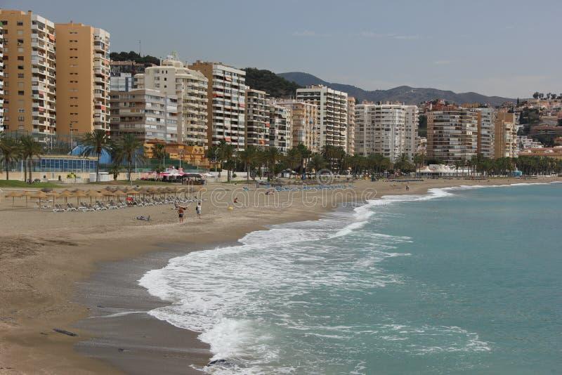 Malagueta Beach. Apartment complexes line the famous Malagueta Beach in Malaga, Spain stock photography