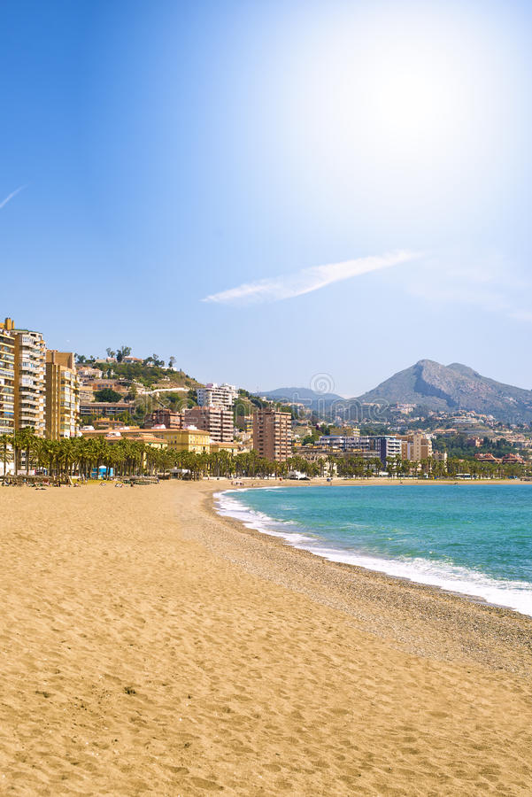 Malagueta Beach in Malaga. Andalusia, Spain royalty free stock photos