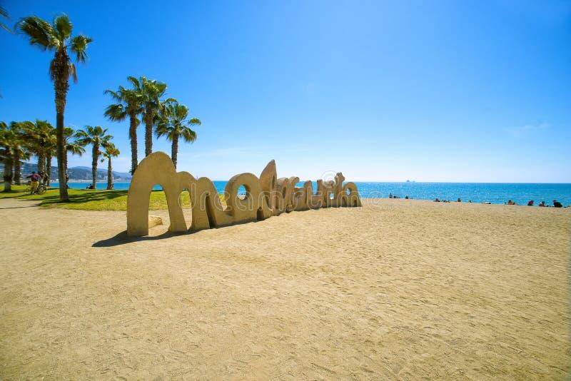 Malagueta Beach in Malaga. Andalusia, Spain royalty free stock images