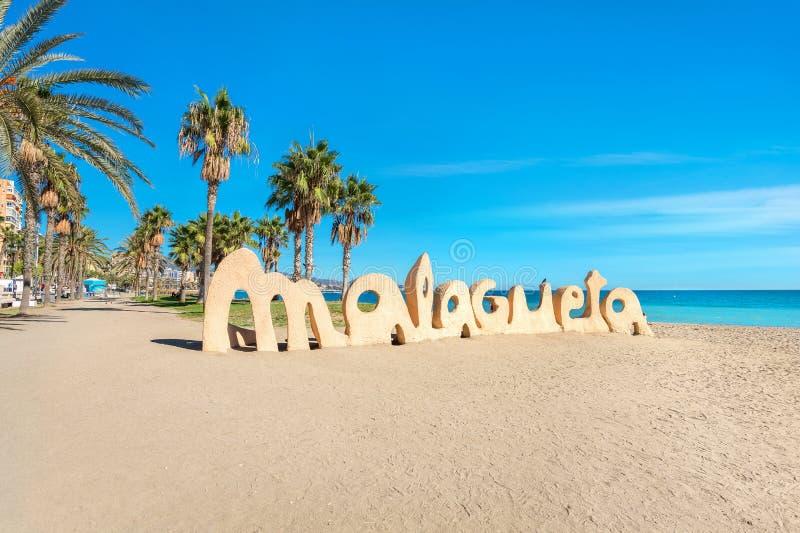 Malagueta beach in Malaga. Andalusia, Spain. Famous beach of Malagueta in Malaga. Andalusia, Spain stock photo
