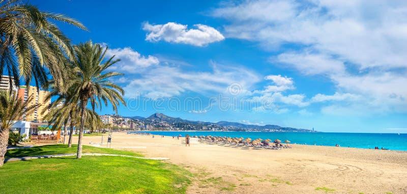 Malagueta beach in Malaga. Andalusia, Spain. Panoramic view of Malagueta beach in Malaga. Costa del Sol, Andalusia, Spain stock photos