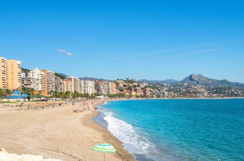 Malagueta Beach in Malaga. Andalusia, Spain. View of Malagueta beach in Malaga. Andalusia, Spain stock images