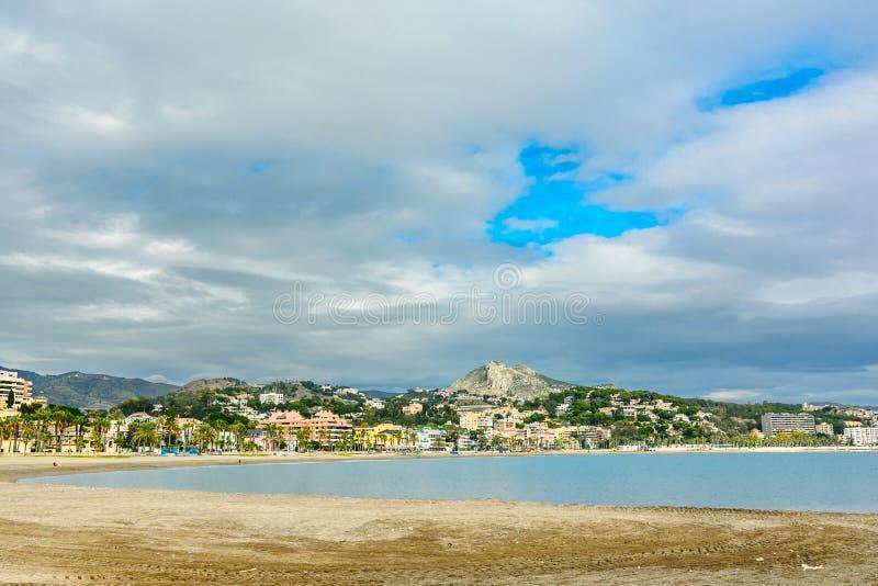 Malagueta Beach in Malaga,Spain. Malagueta Beach in Andalusia, Malaga Spain stock photography