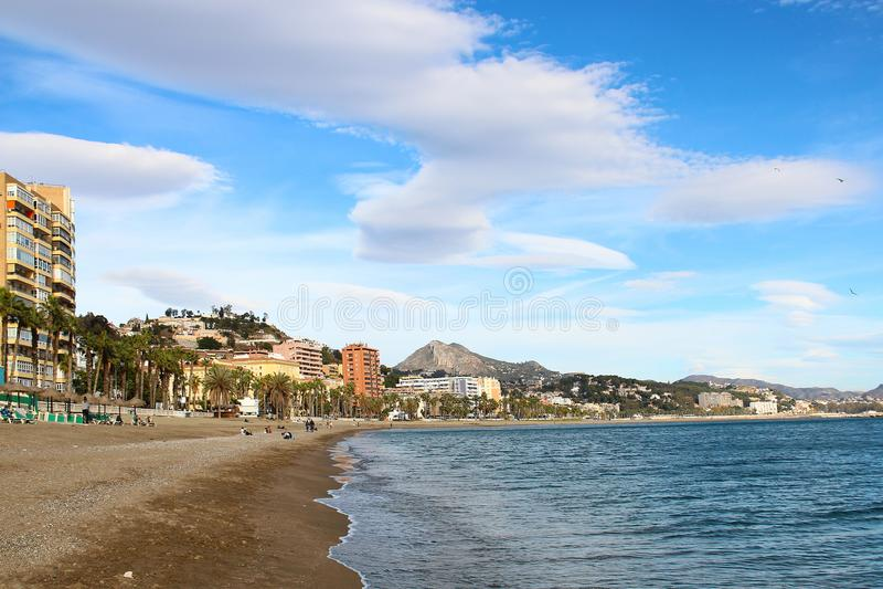 Malagueta beach, Malaga, Spain. La Malagueta beach in Malaga, Andalusia, Costa del Sol, Spain stock image