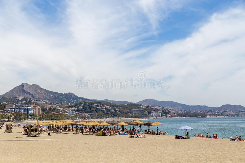 Malagueta Beach in Malaga, Spain royalty free stock images