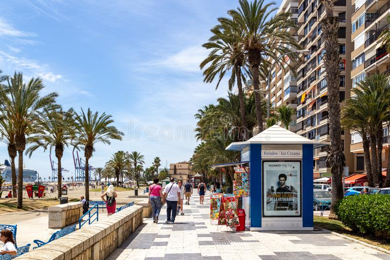 Malagueta Beach Promenade in Malaga, Spain royalty free stock photos