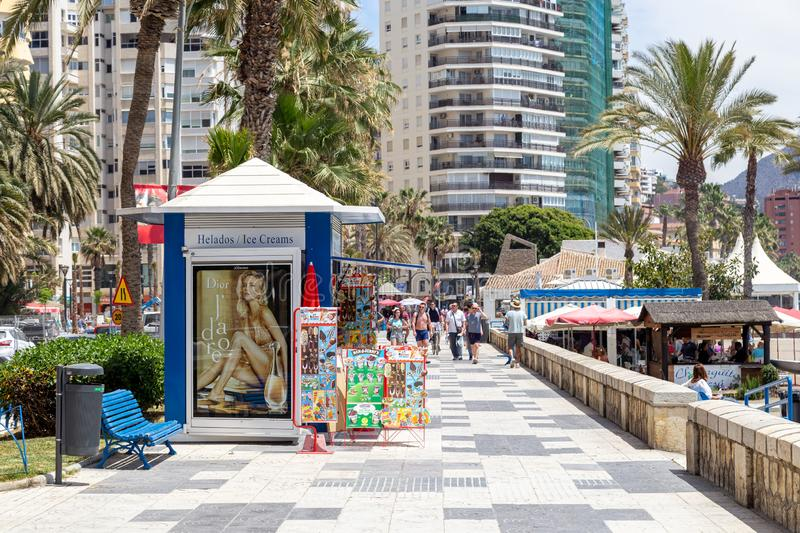 Malagueta Beach Promenade in Malaga, Spain stock photo