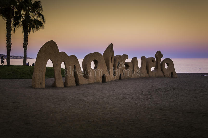 Malagueta. Beach sunset in the early summer evening royalty free stock image
