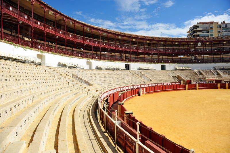 The Malagueta bullring, Malaga, Andalusia, Spain. The bullring in Malaga called Malagueta, view Gibralfaro with the Mediterranean sea in the background, Malaga stock image