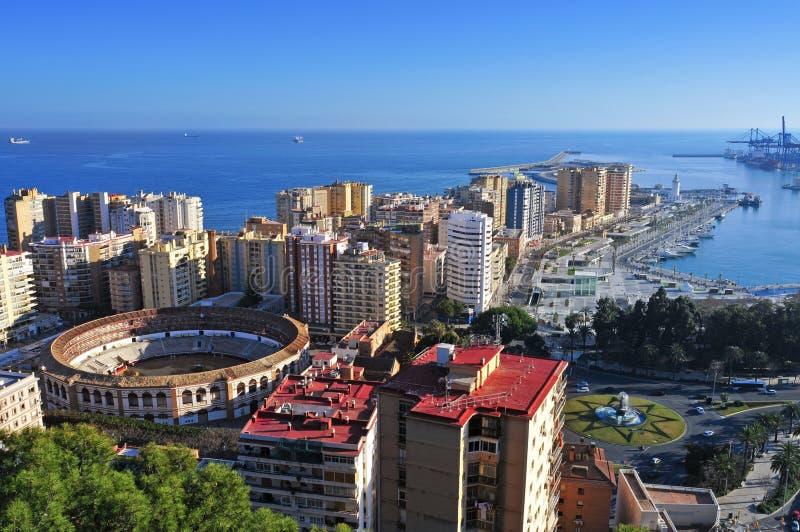 Malagueta Bullring in Malaga, Spain. Aerial view of Malagueta district and La Malagueta Bullring in Malaga, Spain stock photo