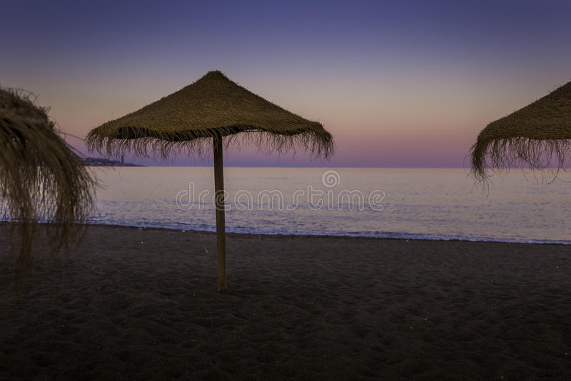 Malagueta. Photography of a sunset on the Malagueta beach Málaga royalty free stock photos