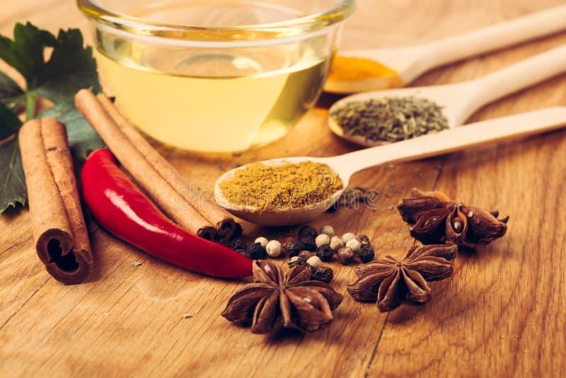 A malagueta picante fresca e secada salpica ervas e óleo do witn foto de stock