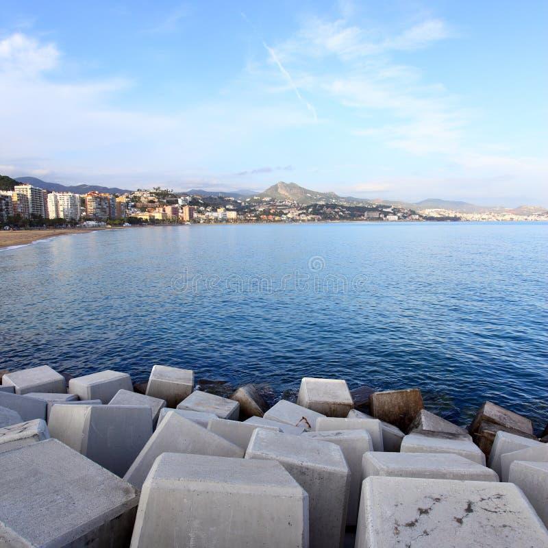 Malagueta. View from pier to Malagueta district, Malaga stock photography