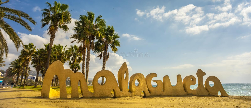 Malagueta writing at Malaga beach Costa del Sol Spain. Malagueta writing at Malaga beach Costa del Sol resort Spain royalty free stock photography