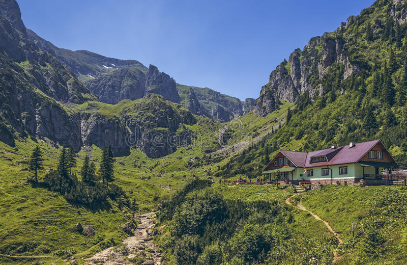 Malaiesti谷, Bucegi山,罗马尼亚 库存图片